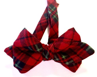 Plaid Christmas Bow tie, holiday bow ties, red plaid bow ties, green bow tie, adjustable bow ties, adjustable red tie, christmas necktie,