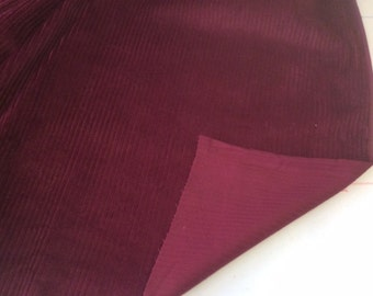 CLEARANCE: One metre of Burgundy Colour Cotton  Jumbo Cord  Fabric -  6 wale - 114 cms wide - Approx 320 gsm