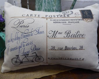 Decorative pillow, French 'postcard' saying, Family pillow, Shabby chic, Country French, Farmhouse, Handmade