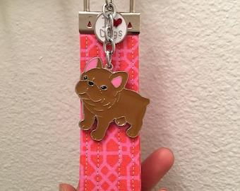 Handmade keychain with bull dog charm