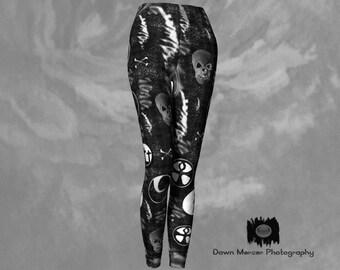 Skull Leggings Goth Leggings Black Printed Leggings Tight Leggings Unique Leggings Tight Yoga Pants Legging With Designs Black Art leggings