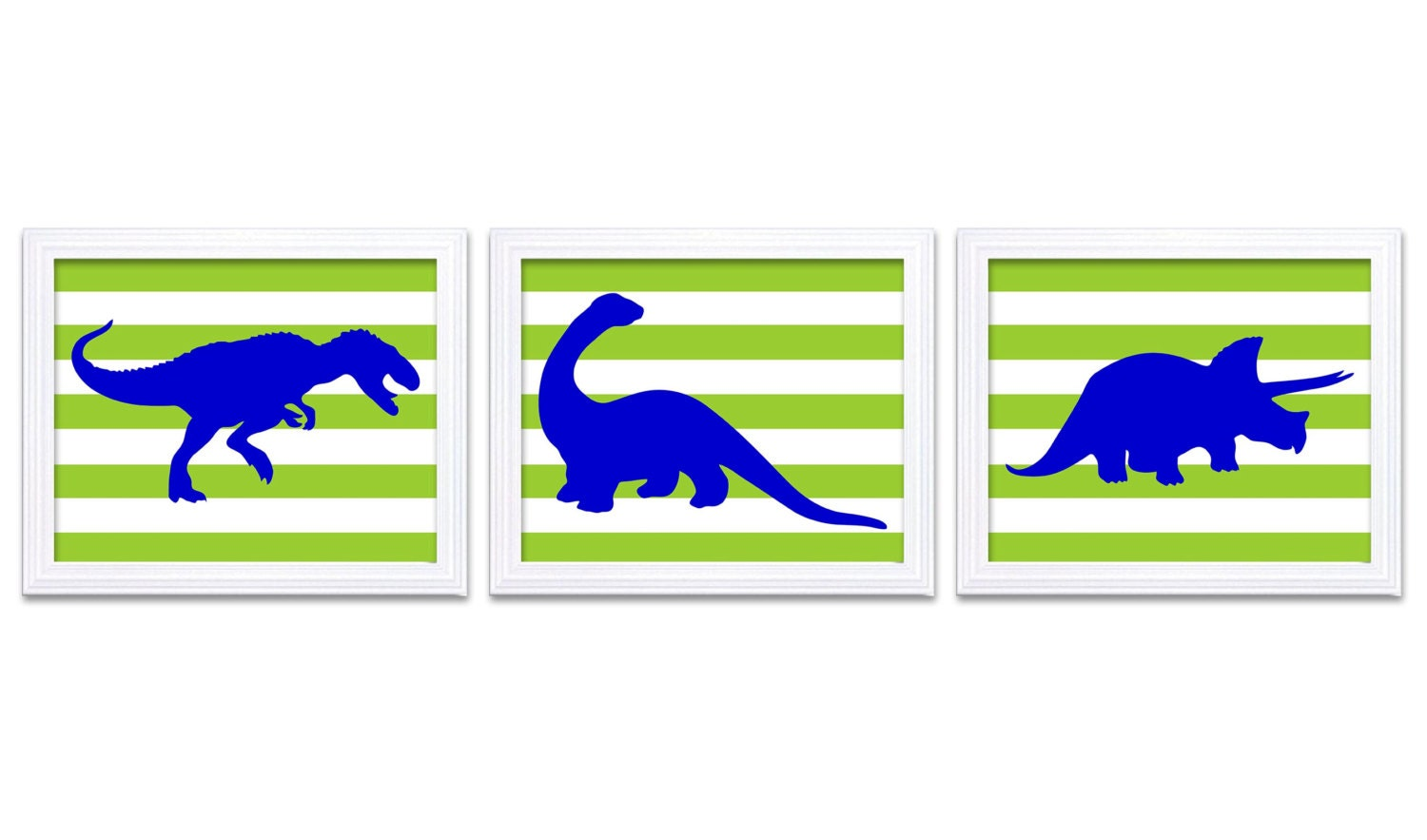 Navy Blue Lime Green Dinosaur Nursery Art Dinosaurs Set of 3 Prints Stripes Tyrannosaurus Rex Tricer