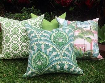 Green Outdoor Cushions, Outdoor Pillows Tropical Cushions, Cushion Covers, Green Outdoor Pillows Alfresco Cushions Tropical Pillows