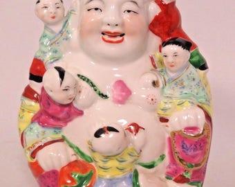 Chinese Laughing Buddha Porcelain Figurine Children Maitreya Hand Painted Vtg