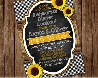 Eat Drink I Do BBQ, Couples Shower Rehearsal Dinner Cookout Invitation - Gingham, Sunflower Burlap Rustic Barnwood Invite - Printable