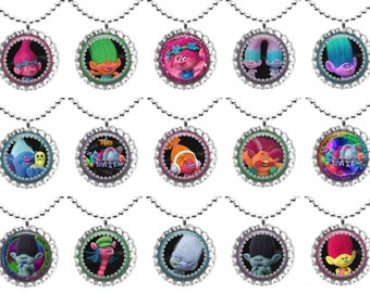 TROLLS - Set of 15 - Bottle Cap Necklaces For Birthday Gifts, Birthday Favors, Party Favors Set 1