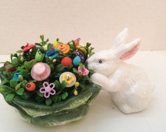 Vintage Button Bouquet tucked in Cabbage with Bunny~Easter/Spring Home decor