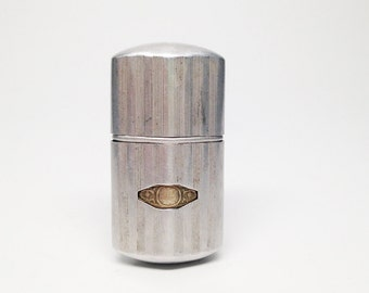 ANTIQUE ALUMINUM LIGHTER -  Working Old 1930s French Tax Stamp Trench Style Pocket Lighter