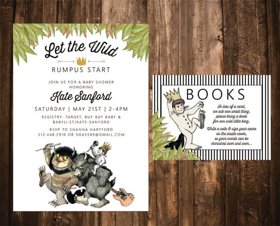 where the wild things are baby shower invitation with book insert