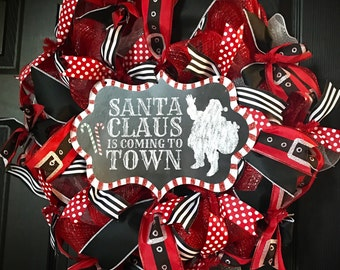 READY TO SHIP Santa Claus is Coming to Town Mesh Wreath with Ribbon for Christmas