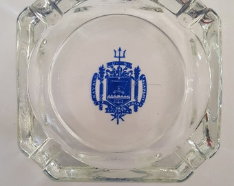 Vintage United States Naval Academy heavy glass ashtray, Annapolis Maryland Ex Trident Scientia