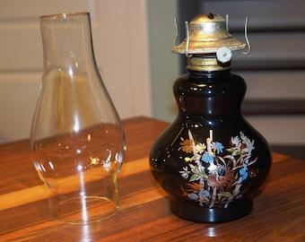 Vintage Lamplight Farms Clear Glass Paraffin Lamp/Kerosene Lamp/Oil Lamp-Black Base