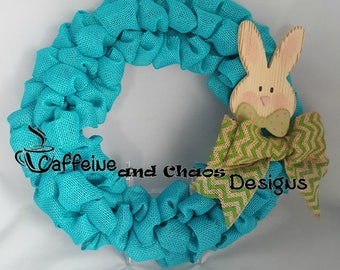 Easter Burlap Ribbon Wreath, Front Door Wreath, Spring Burlap Wreath, Bunny Wreath