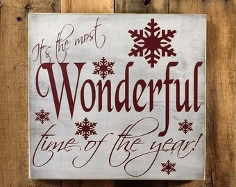 It's The Most Wonderful Time Of The Year Holiday Sign - Your Choice Of Colors