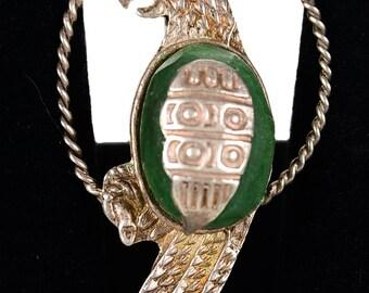 Silver & Jade - Vintage Parrot Brooch Pin