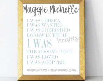 Adoption Gift, Adoption Print, Birthday Present, Word Art, Personalized Canvas, Custom Canvas Print, Personalized Wall Art, Adoption Poster