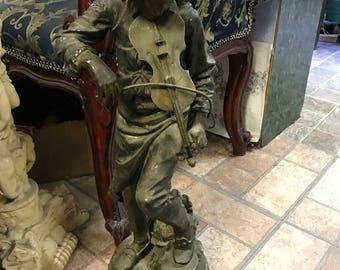 "Vintage Metal figurine of boy playing violin ""Lulli"" - after Gaudez"