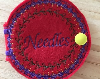 Sewing Needle Case,needle holder,needle organizer,gift for sewer,grab bag,quilting retreat,pin cushion,felt case,pins and needles