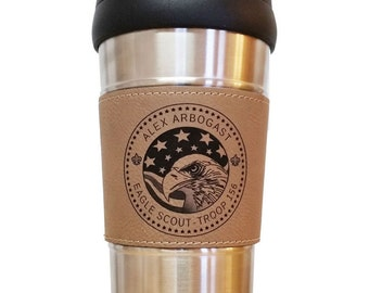 Leather Grip Travel Mug for Eagle Scouts