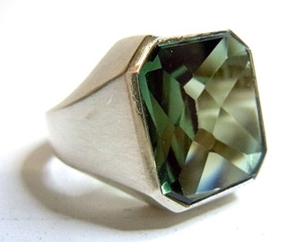 830 silver ART DECO ring with green tourmaline around 1930