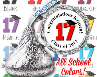 Class of 2017 Graduation Candy Stickers - fits Hershey Kisses® - Pick Your Colors!