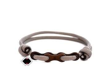 Bike chain paracord bracelet custom color handmade in USA - grey