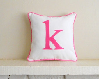 small initial pillow - cover - custom colors - monogram cushion - letter pillow - alphabet - lower case letter / small letter monogram