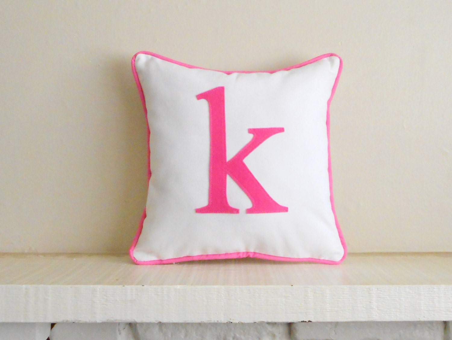 small initial pillow cover custom colors monogram. Black Bedroom Furniture Sets. Home Design Ideas