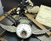 Time Flys steampunk necklace Handcrafted artistic jewelry -The Victorian Magpie