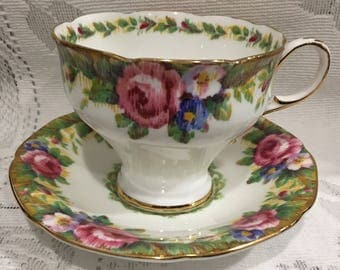 Vintage - English -  Paragon Bone China Cup and Saucer - Tapestry Rose