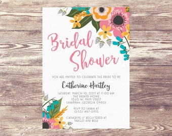 Printed Floral Bridal Shower Invitation, Elegant Rehearsal Dinner Invitation, Garden Engagement Party Invite, Wedding Brunch, Baby Shower