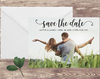 Photograph Save the Date Card, Save the Date with Photograph, Simple Save the Date with Photo, Photo Save the Date, Modern Save the Date