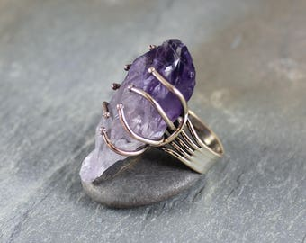 Amethyst Point ring ~ Artisan Handcrafted (size 6)