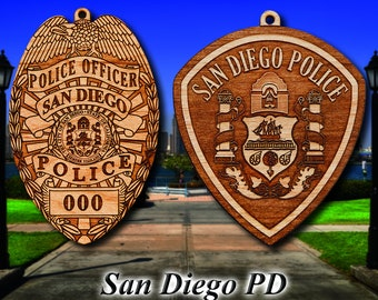 Personalized Wooden San Diego PD Badge or Shoulder Patch Hanging Ornament