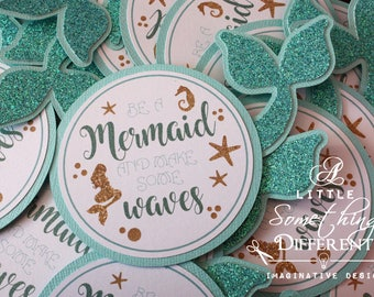Mermaid Tags with Glitter, Teal and Gold Glitter Mermaid Favor Tags, Turquoise Mermaid Party Favor Tag, Summer Birthday, Mermaid Tail Tag