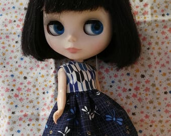 Blythe Doll Outfit DRAGONFLY BLUE dress