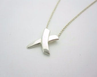 Tiffany & Co. Paloma Picasso X Sterling Silver Modern Necklace 16""