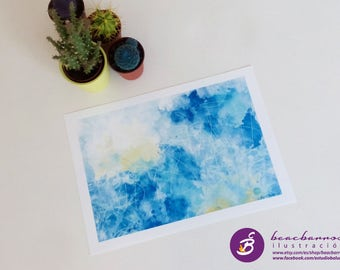 watercolor clouds print, blue sky abstract landscape, watercolor nursery, blue watercolor wall decor, clouds landscape art, clouds nursery