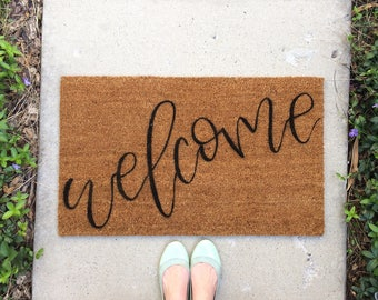 Hand painted, Custom Coir Front Door Welcome Mat | Personalized Doormat | Housewarming Gift