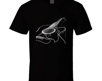 Black Acoustic Guitar T Shirt