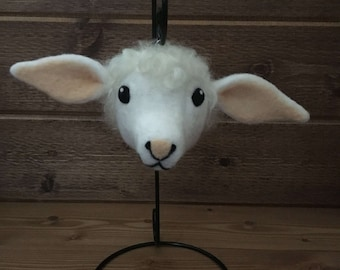 Ewe Lamb 100% Wool Needle Felted Ornament - Snow White and Peach, Natural Cotswold Locks, Silver Metal Ornament Top, Gift Boxed (Item ELOR4)