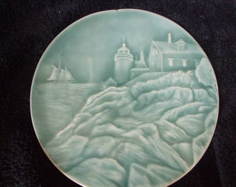 Vintage Edgecomb Potters Lighthouse Trivet , Bass Harbor Light , Edgecomb Pottery in Blue Green Glaze
