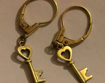 Vintage German K&L 14k Rolled Gold Dangly Earrings - Lever Back Heart Key Earrings