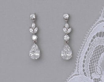 Crystal Earrings, Crystal Bridal Earrings, White Gold Teardrop Earrings, Crystal Drop Earrings, Silver Wedding Earrings, ASHLEY