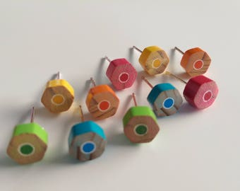Colorful Hexagonal Pencil Earring