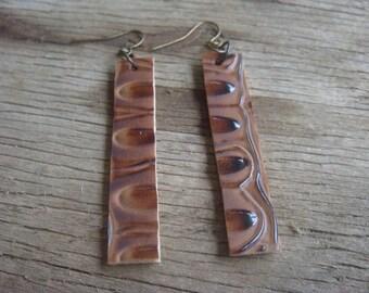 Faux Leather Earrings - Boho Earrings - Vegan Earrings - Brown Leather Earrings - Faux Leather Earrings - Minimalist Jewelry