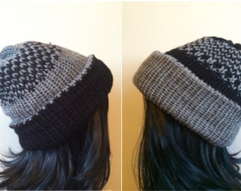 Unisex knit beanie, slouchy beanie, reversible hat, grey and black hat, MORE COLOR OPTIONS!