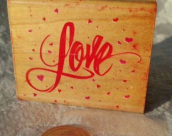 Love rubber stamp by Rubber stampede made in 1992, Used rubber stamp, valentines stamp, heart stamp, Love stamp, Valentines Card Stamp,