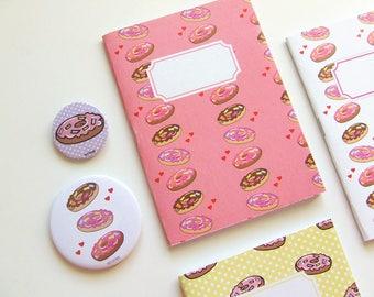 Pink Donuts Pattern Journal - Pocket size Notebook -Polka Dot - Blank pages
