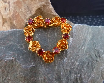 Romantic Heart Victorian Revival Flair Brooch | Red Rhinestones and Gilded Roses Vintage Heart Pin